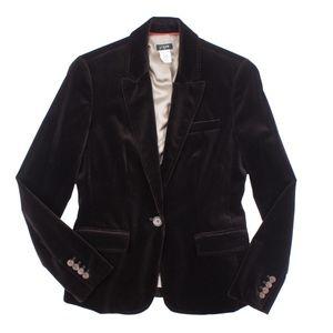 JCREW Size 4 Chocolate Brown Velvet Blazer Jacket